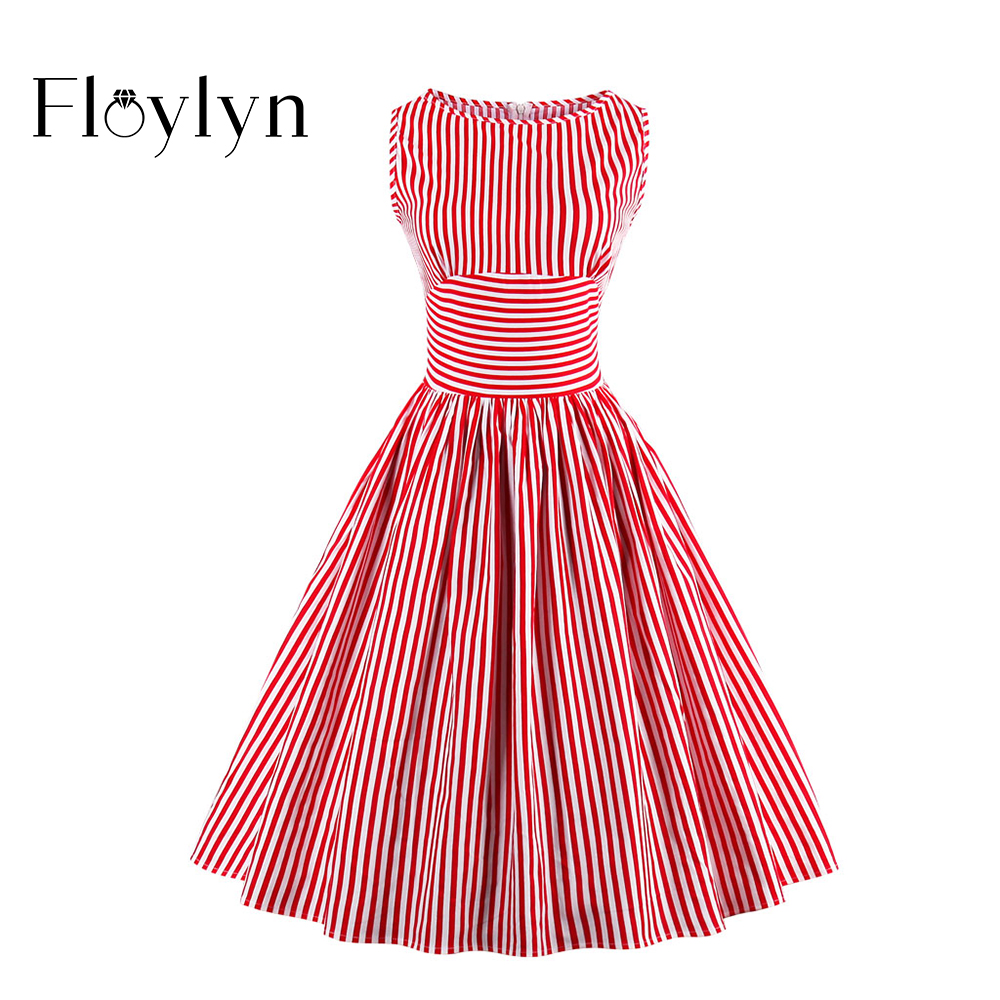 Floylyn Women's Vintage Sleeveless Red White Striped ...