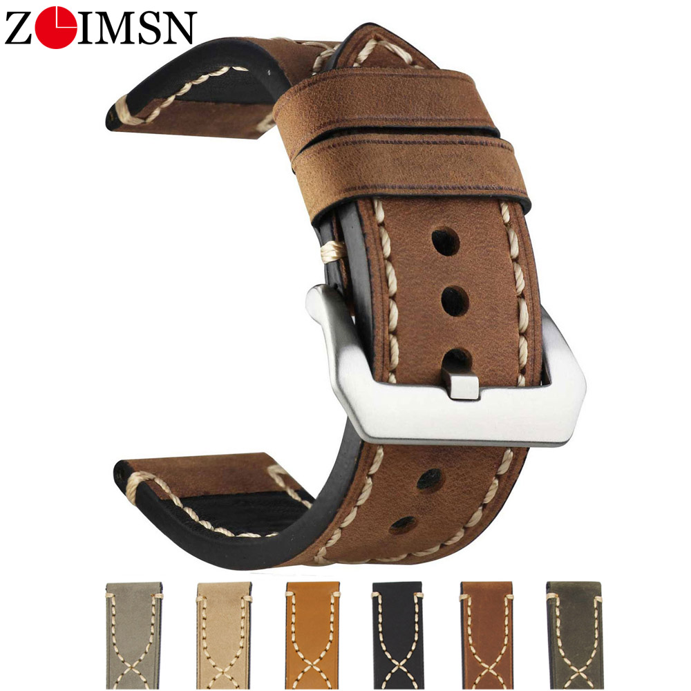 ZLIMSN  Vintage Cow Leather Watch Bands  Lengthen Big Wrist Watch Strap 20mm, 22mm, 24mm 26mm Strap For Panerai Fossil