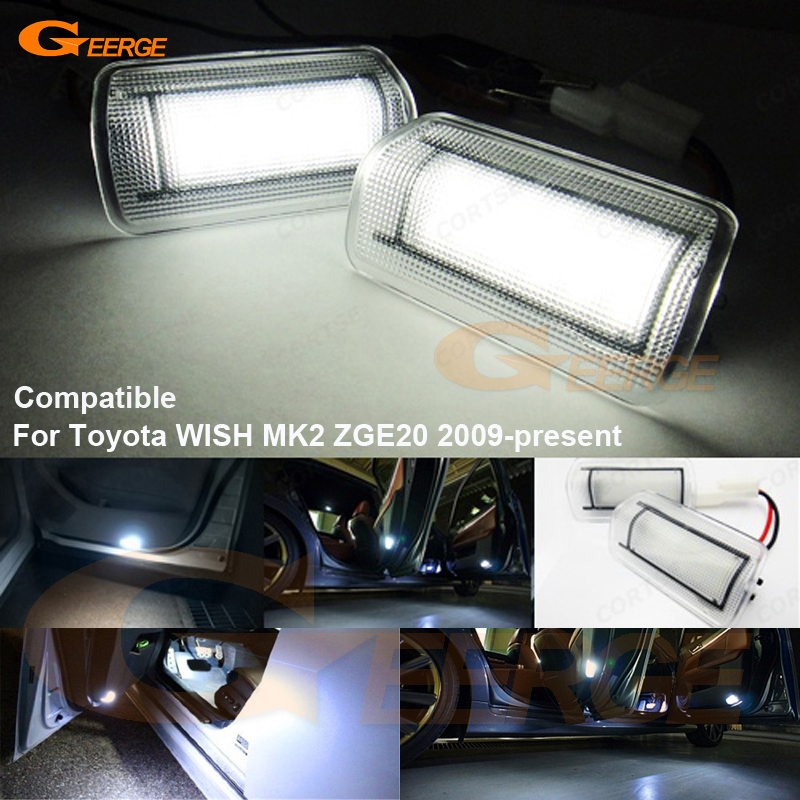 For Toyota WISH MK2 ZGE20 2009-present Excellent Ultra bright 3528 LED Courtesy Door Light Bulb No OBC error