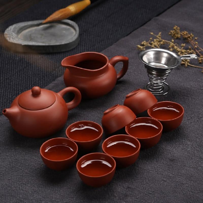 Ceramic Yixing purple sand Kung Fu tea set a teapot eight cups tea teapot and tea cup suit