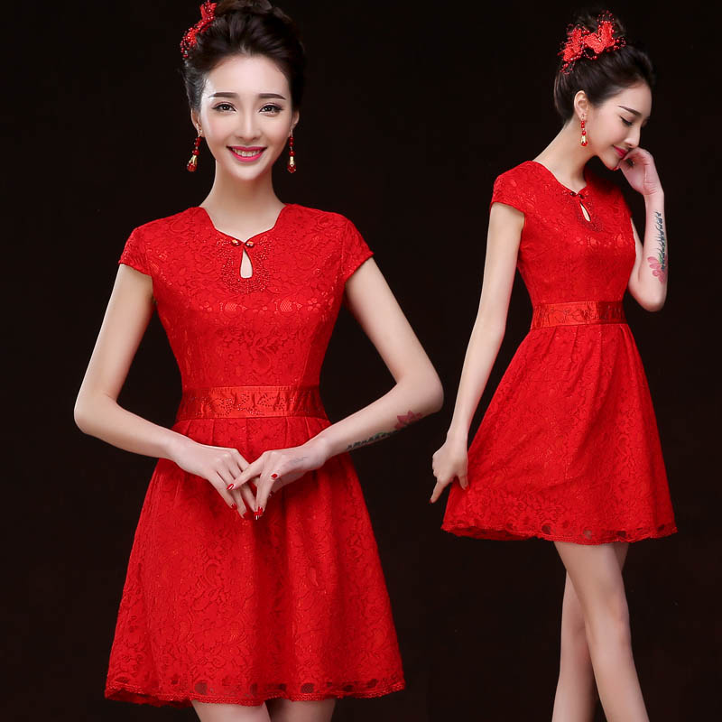 Qipao Chinese Traditional Wedding Dress Summer Style Bride Red Lace  Cheongsam Female Improved Oriental Dresses Vestido 1c589218a97b