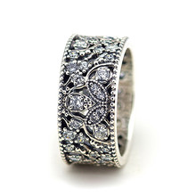 cd2499a34 FANDOLA Real 925 Sterling Silver Jewelry Shimmering Leaves Ring Engagement  Wedding Rings for Women DIY Charms