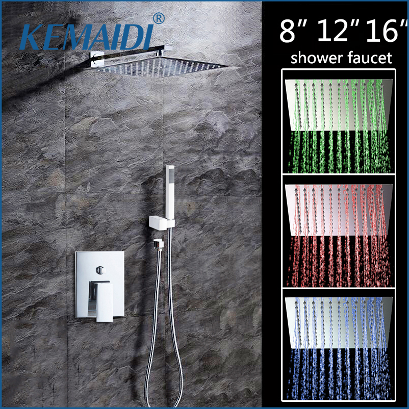 KEMAIDI 8 12 16LED Shower Wall Mounted Square Style Brass Head Waterfall Shower Set Rainfall Bathroom Shower Kit Hand Shower good quality wall mounted square style brass waterfall shower set new bathroom shower with handle rainfall shower head