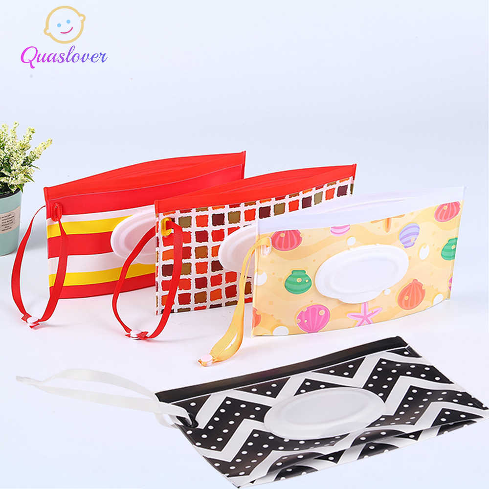 Quaslover Eco-friendly Easy-carry Wet Wipes Bag Snap Strap Wipes Container Clamshell Cosmetic Pouch Clutch Cleaning Wipes Case