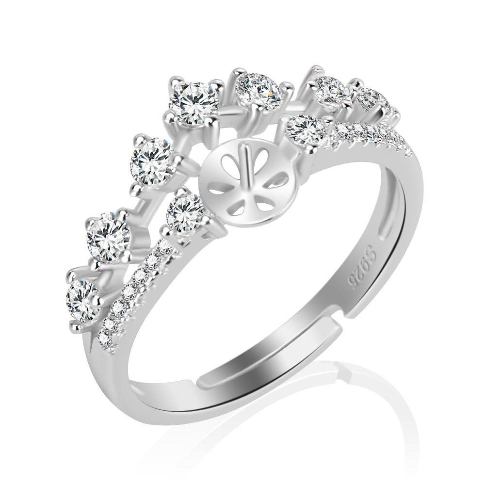 CLUCI 925 Sterling Silver Crown Ring for Bride Bijoux Adjustable Wedding Ring Finding Luxury Jewelry Birthday Gifts For Girl