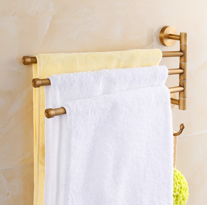 цена на 2016 Bathroom Accessories,Quality Brass Material Antique brass Finish Towel 3 Bar&Towel Rack/ Folding Movable Bath Towel Bar
