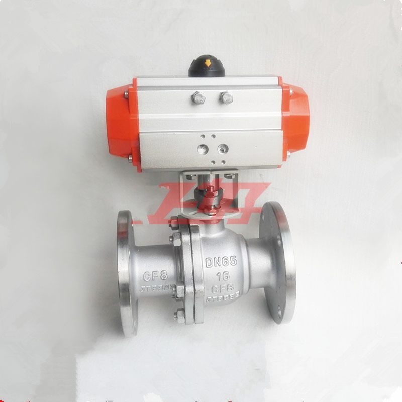 1 DN25 GB Stainless Steel 304 Pneumatic flange ball valve Double Acting PTFE Seal Water Air Oil free shipping high quality dn25 1 stainless steel 304 double acting air actuated pneumatic ball valve actuator