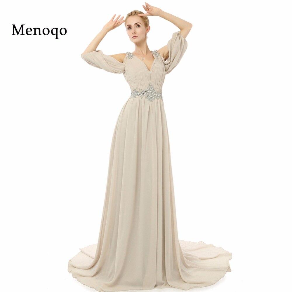 Real Photo Mother Of The Bride Dresses Three Quarter Sleeves vestido de festa Elegant A line Chiffon Long Formal Evening Dress