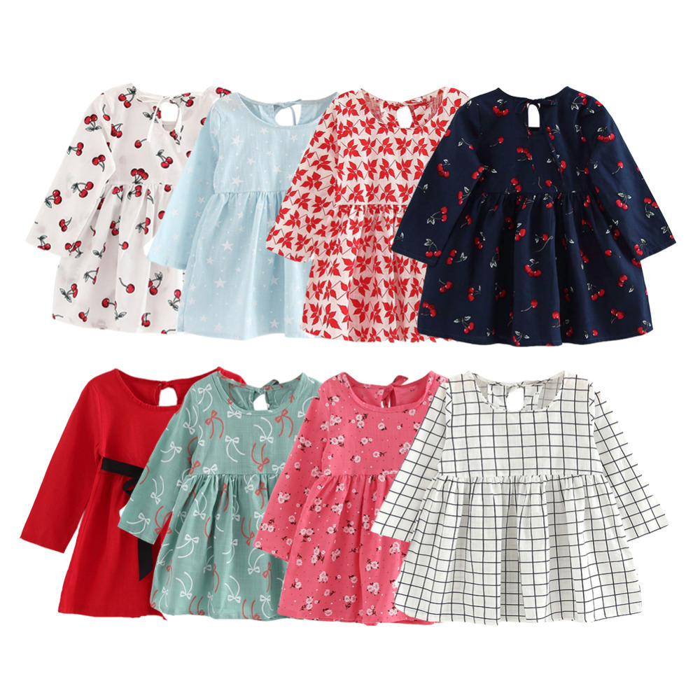 Suvi tüdruk kleit lapsed lapsed kleit tüdrukud pikk varrukas ruuduline kleit pehme puuvilla suvel printsess kleidid beebi tüdrukute riided
