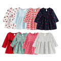 Summer Girl Dress Kids Children Dress Girls Long Sleeve Plaid Dress Soft Cotton Summer Princess Dresses Baby Girls Clothes