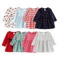 Summer Girl Dress Kids Children Dress Girls Long Sleeve Plaid Dress Soft Cotton Summer Princess Dresses Baby Girls Clothes