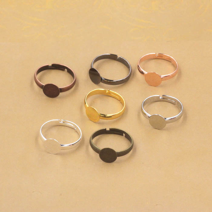 Blank Ring Settings with Flat Circle Glue Pads Resin Cameo Cabochons Bases Rings Findings DIY Jewelry