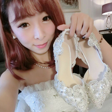 Elegant Genuine Leather Rhinestone Pointed Toe High Heel Wedding Shoes Popular White Lace Rhinestone Shoes Banquet  Party Shoes