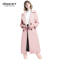 Cheerart 2017 Winter Coat Women Long Wool Trench Coat Double Breasted Sky Blue Pink Khaki Overcoat