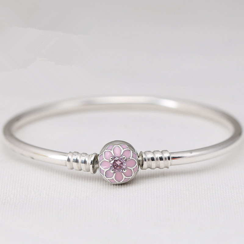 925 Sterling Silver Pink Blooming Dahlia Clasp Snake Chain Basic Pan Bracelets Bangle Fit Women Bead Charm Diy Jewelry