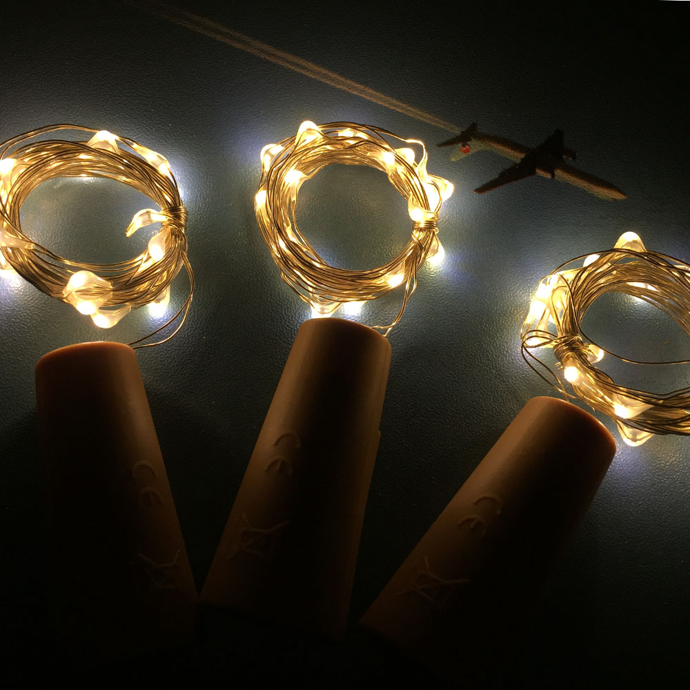 Copper Wire String Light With Bottle Stopper 2M 20LED Garland Christmas Fairy Lights For Glass Craft Bottle Decoration