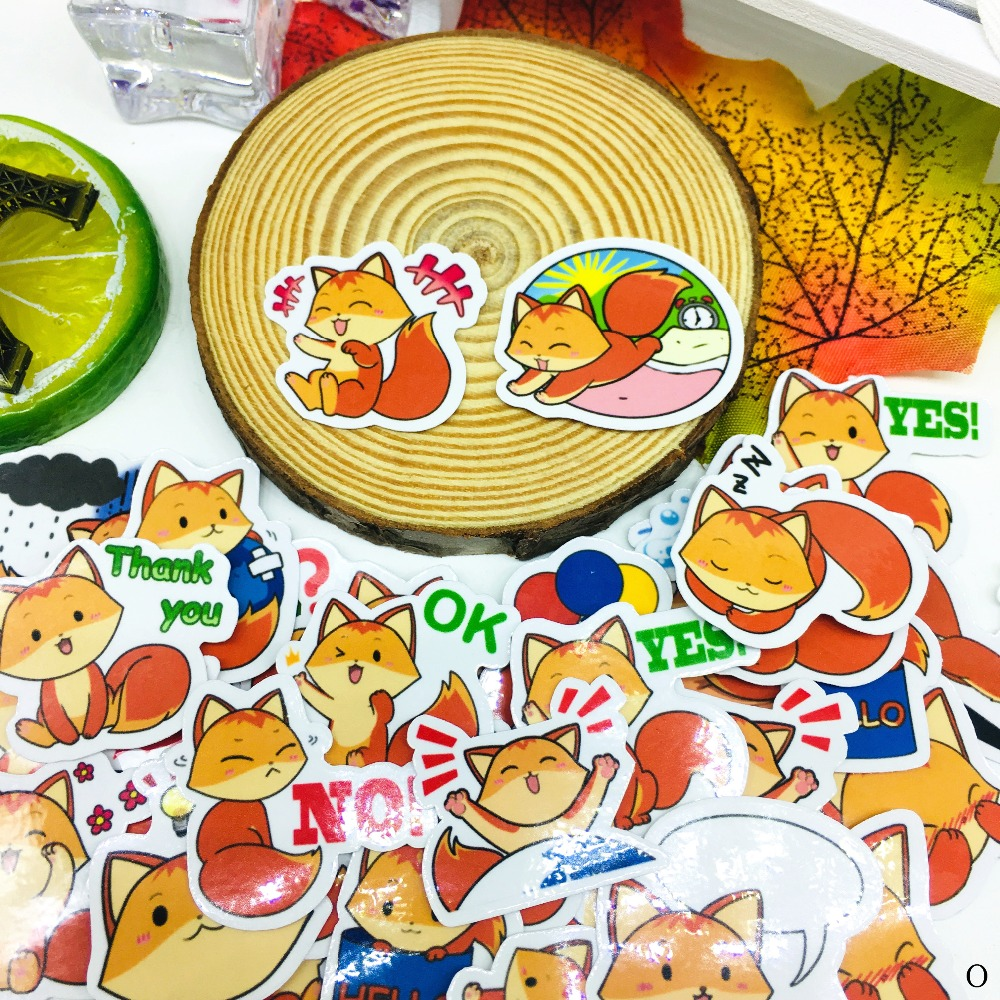 40 Pcs Yellow little fox Cartoon Sticker Waterproof For book Laptop Moto Skateboard Luggage Guitar Furnitur Decal Toy Stickers