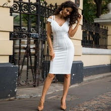 Off Shoulder Knee Length Bandage Party Dresses