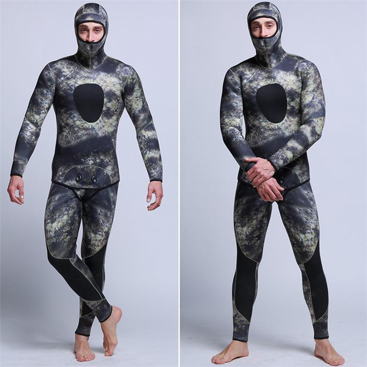 Men\'s 5mm SCR Full Suit Camouflage two Piece Splicing Diving Suits Surfing snorkel swimsuit Split Suits combinaison surf wetsuit (2)