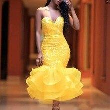 Yellow Evening Dress Vestidos De Festa Sexy Dresses Ruffles Robe Soiree Organza Applique Gowns Mermaid