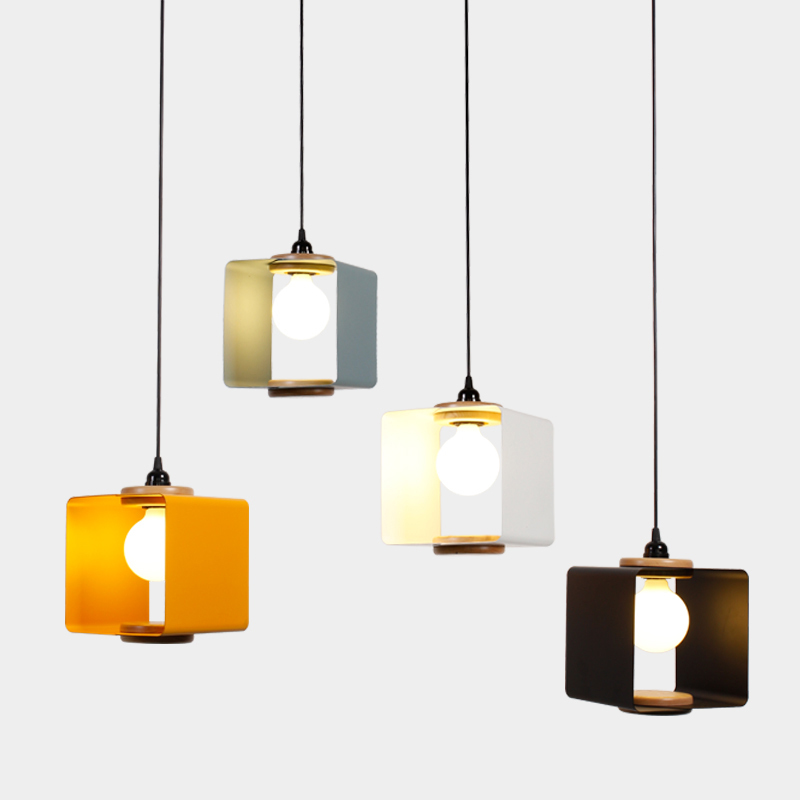 Nordic Pendant Lights Wood Aluminum Lampshade Lighting Loft Lamparas Colorful Hanging Lamp E27 Light Fixtures Pl580 In From