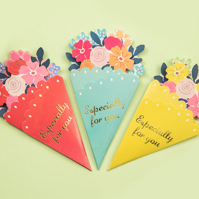 3pcs DIY Flower Greeting Card Wedding Gift Greetings Christmas Card