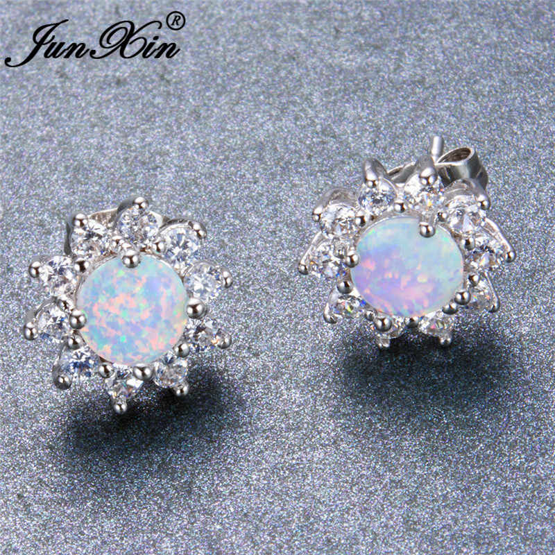 JUNXIN Mystic Round White Fire Opal Double Stud Earrings For Women 925 Sterling Silver Filled Crystal Zirconia Wedding Jewelry