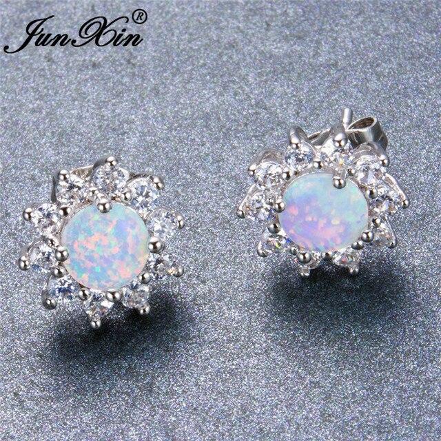 JUNXIN Mystic Round White Fire Opal Double Stud Earrings For Women 925  Sterling Silver Filled Crystal bafb1124dc9e