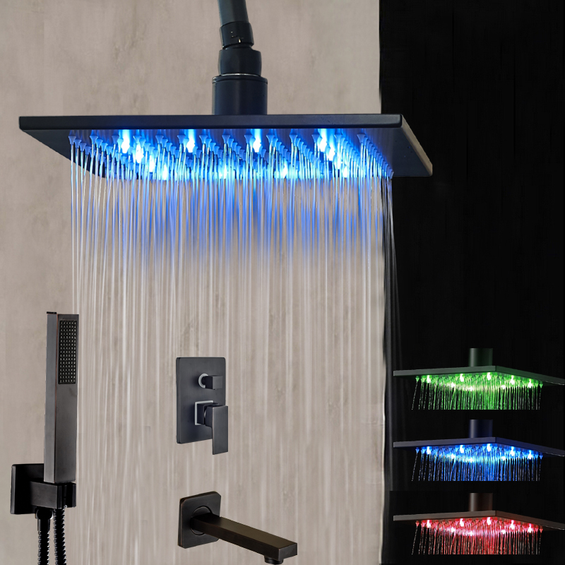 LED Ceiling Mounted Shower Head Oil Rubbed Bronze Hand Shower Tub Spout Set Mixer Tap