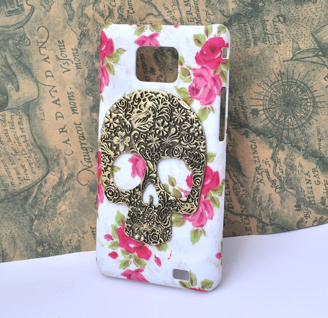 rose flower bronze skull case for Samsung Galaxy s2 sii AT&T  i777 protective cover handmade [JCZL DIY Shop]