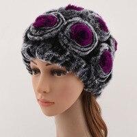 النساء الشتاء أرنب ريكس الفراء محبوك قبعة قبعات متعددة الألوان الزهور نوع عارضة أرنب قبعة الفرو الحقيقي زهرة قبعة الشتاء إمرأة
