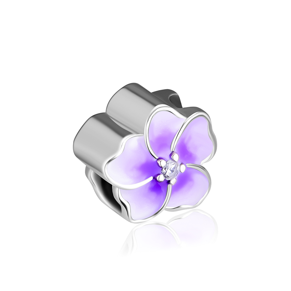 Argent Sterling 925 Orchidée émail blanc clair orchidée CZ Fit Charm Bracelet