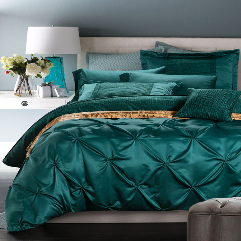 Luxury Bedding Sets QueenKing Size Cotton Pinch Pleat