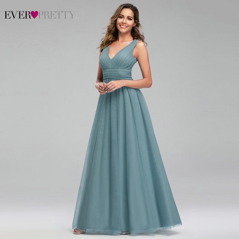 Ever Pretty Elegant Dusty Blue Long Prom Dresses Sleeveless V-Neck A-Line Sexy Women Formal Party Gowns Vestidos De Gala 2020