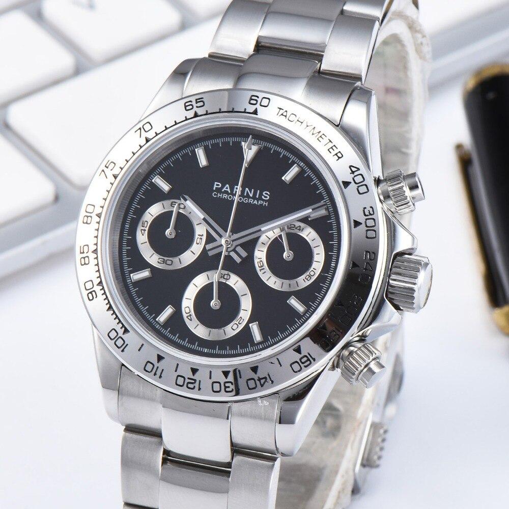 Parnis 39 мм черный циферблат кварцевые мужские часы водонепроницаемый сапфировый Кристалл хронограф светящийся мужские часы zegarek meski мужские ...