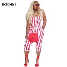 Red Striped Print Jumpsuit Slim Bodycon Playsuit Cropped Trousers Sleeveless Jumpsuit with Pocket Rompers Sexy Club Wear Outfits