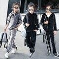 IAiRAY marca crianças hoodies conjunto de roupas de treino meninas camisola das crianças pullover manga longa tecido de veludo calças esportivas