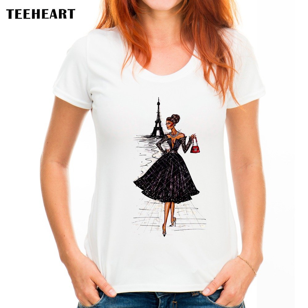 Teeheart Vintage Fashion Paris Girl Shirt Women T Shirt