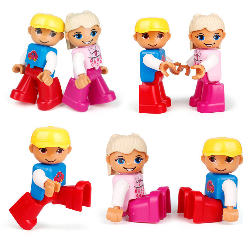 10Pcs Hot Sale ABS Action Figures Compatible With legoING Duplos Figures Animal Train Building Models Education Toys For Baby