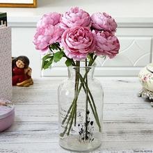 Jedwabne róże białe sztuczne kwiaty piwonia do dekoracji wnętrz różowa piwonia sztuczne kwiaty DIY dekoracje ślubne ściany wysokiej jakości flores tanie tanio Jedwabiu Ślub HL1462 Kwiat Oddział artificial flowers peony silk flowers Home garden wedding decorations Christmas day Valentine s Day New Year Birth