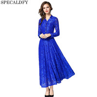 2018 Autumn Sexy Hollow Out Evening Party Dresses Women Long Sleeve Vintage Royal Blue Elegant Lace