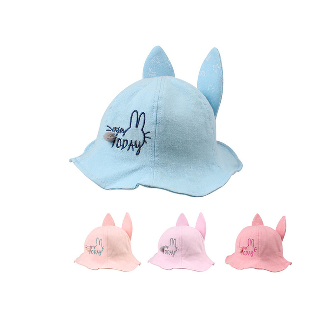 ca027a02f1a Cartoon Cat Girl Hat Cute Toddler Panama Rabbit Ear Cotton Baby Boy Hat  Spring Beach Sun Cap Lace Up Fit Hat Baby Girls Clothing