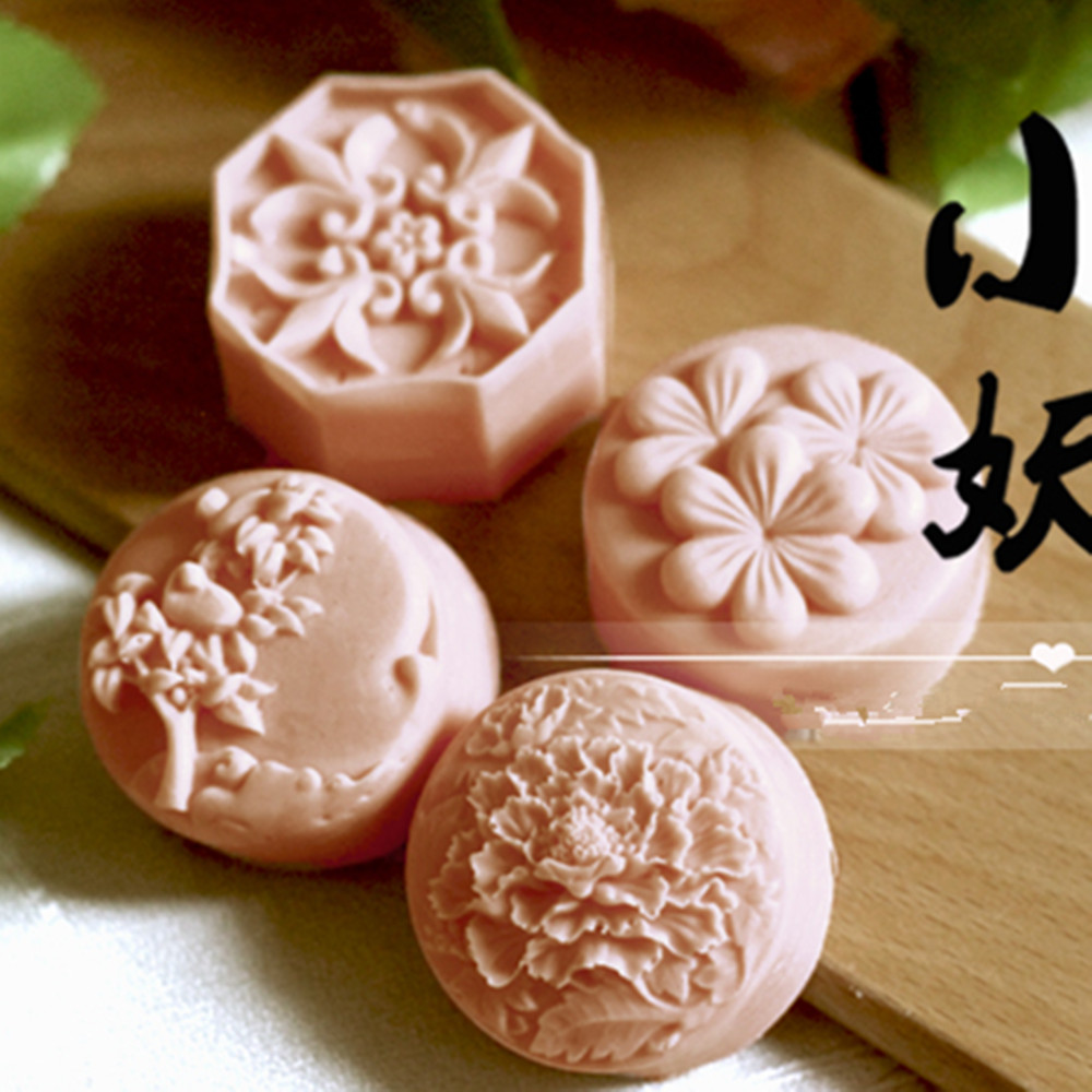 Grainrain Soap Molds Craft Flower Silicone Moon Cake Ice Cream Chocolate Handmade Mold