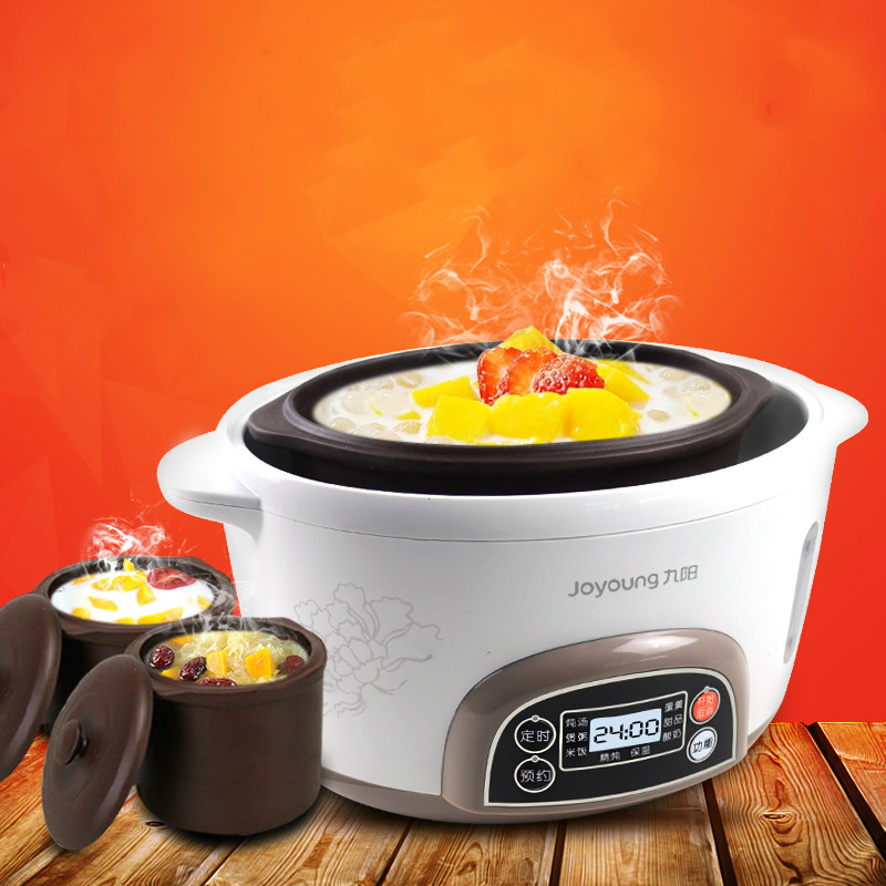 Electric Redware Liner Stewing Machine Automatic Porridge Soup Pot Electric Stew Seperated By Water Slow Cookers with 3 Liners dmwd electric kettle eggs slow cooker teapot multifunction porridge stew pot hot water boiler timing milk heater 1 8l 110v 220v