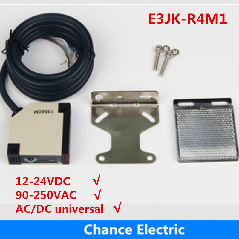E3JK-R4M1 infrared 4m distance relay output Photoelectric photo Sensor Switch reflector 12V-24VDC 90-250VAC mayitr photoelectric switch sensor ac 90 250v 3a e3jk r4m1 square reflex light barrier sensor photoelectric switch