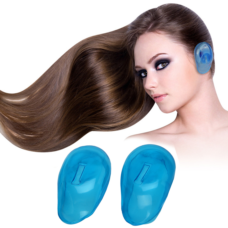2Pcs Soft Blue Silicone Ear Cover Hair Dye Shield Protect Salon Color New