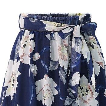 New Plus Size Women Chiffon Skirt Europe Fashion Bow Saia Midi Lining Jupe Femme Lace Up Falda Mujer Summer Print Floral Skirts 6