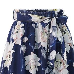 Image 5 - Yeni Artı Boyutu Kadın şifon etek Avrupa Moda Yay Saia Midi Astar Jupe Femme Dantel Up Falda Mujer Yaz Baskı Çiçek etekler