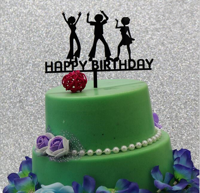 New Arrival Happy Birthday Cake Topper Black Acrylic Unique Adult Dance Stand Home Party Supplies In Decorating From
