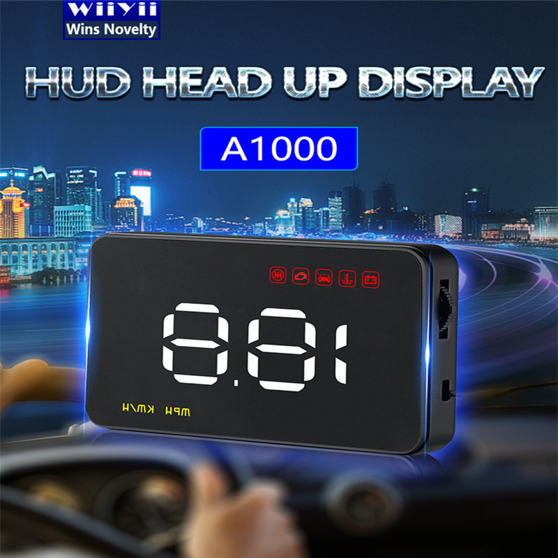 Universal A1000 Digital Car OBD2 Auto HUD Head Up Display Overspeed Fatigue Warning Alarm System Detector Plug and Play